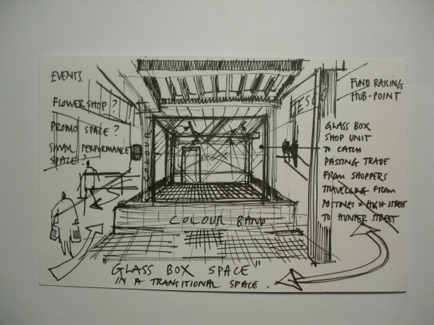 SKETCH IDEA FOR A TEMPORARY OR PERMANENT RETAIL UNIT @ UNDERPASS AT POSTINGS SHOPPING CENTRE