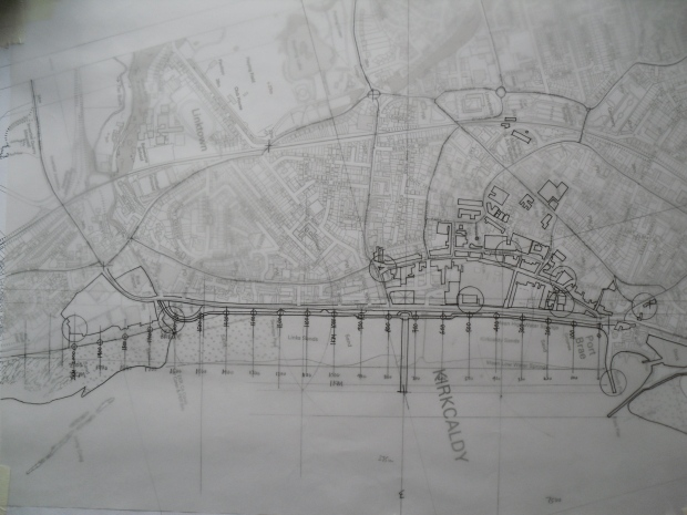HAND DRAWN MAP SHOWING A PROPOSED 2KM WALKING, RUNNING, CYCLING FITNESS TRAIL ALONG THE PROMENADE ON KIRKCALDY ESPLANADE.